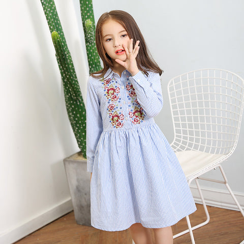 Fashion Flower Embroidered Dress for Girl
