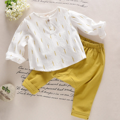 Fashion O-Neck Cotton Linen Shirt + Pants for Toddler/Boy