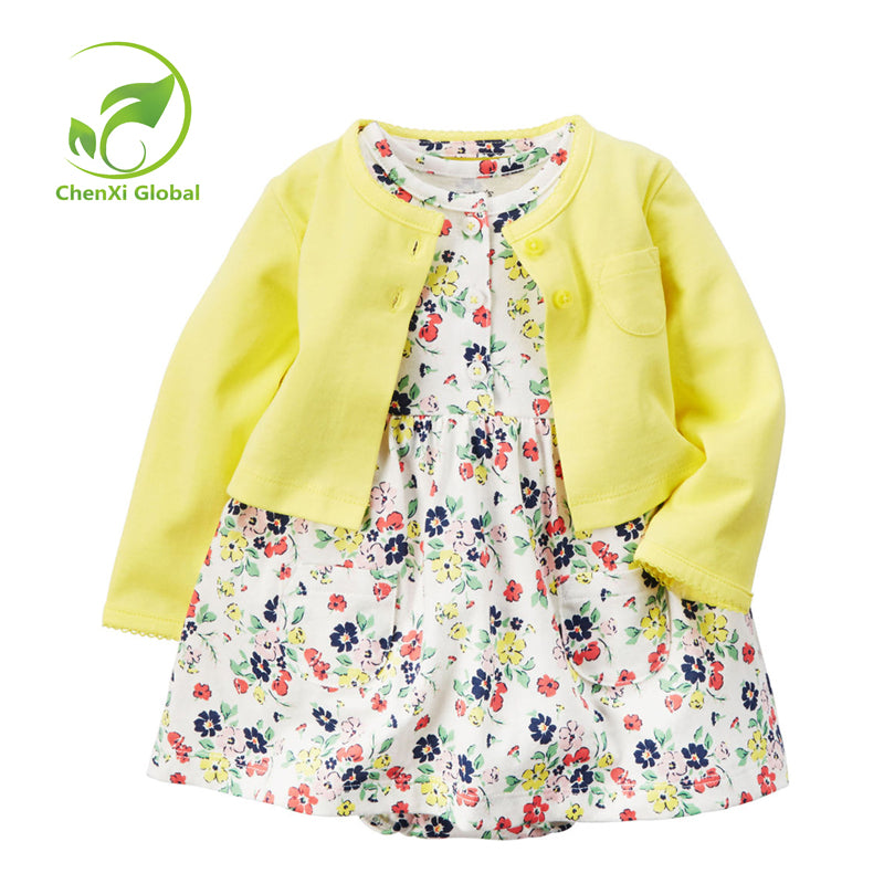 2 Piece Flower Dress+Cardigan for Baby Girl
