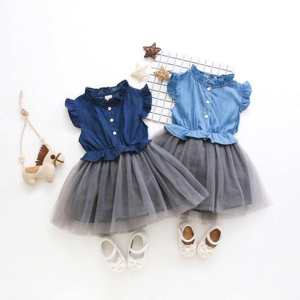 Blue Denim & Tutu Dress for Toddler/Girl