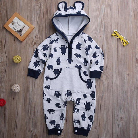 Cute Bear Baby Boy Warm Jumpsuit