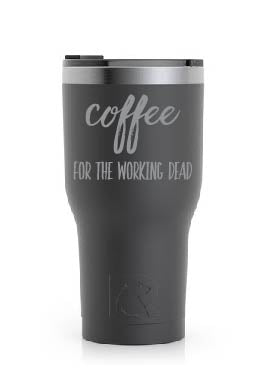 Stainless Steel Tumbler (20 oz) Black (Coffee for the Working Dead)