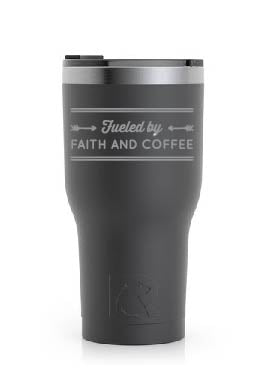 Stainless Steel Tumbler (20 oz) Black (Fueled By Faith and Coffee)