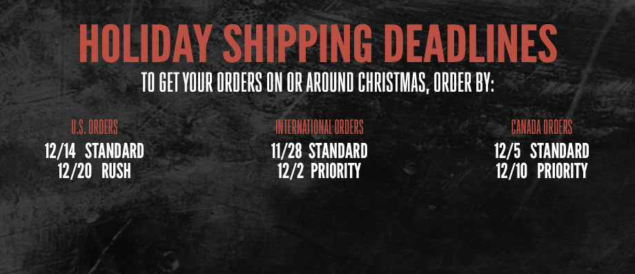 Shipping Deadlines for Godsmack Store