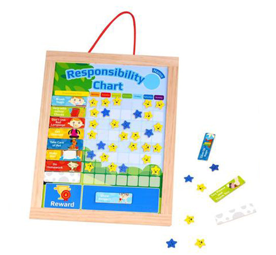 Deluxe Wooden Magnetic Responsibility & Chore Chart