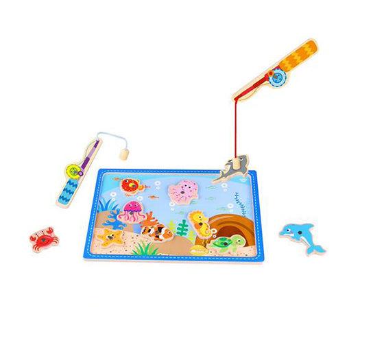 Catch & Count Wooden Fishing Game with Magnetic Rods