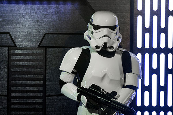 LONDON, UK - MAY 15th 2018: A Stormtrooper figure from the popular Star Wars film franchise on display