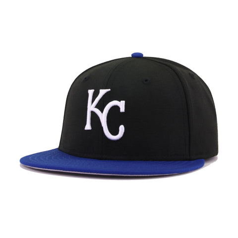 Kansas City Royals Black Light Royal Blue Cooperstown New Era 59Fifty Fitted