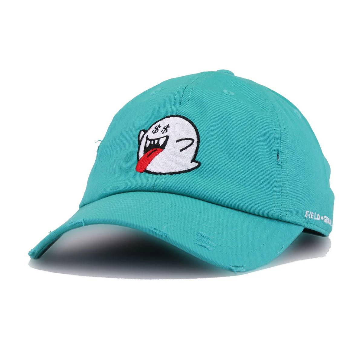 Ghost Money Teal Field Grade Distressed Dad Hat