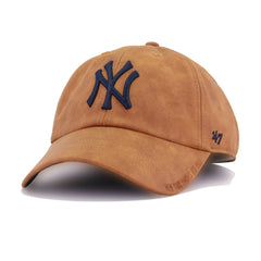 New York Yankees Faux Brown Leather 47 Brand Clean Up Dad Hat