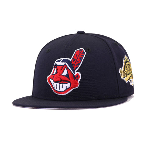 Cleveland Indians Navy 1995 World Series Cooperstown New Era 59Fifty Fitted