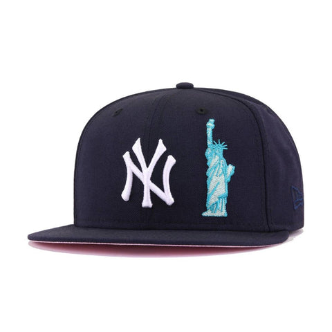 New York Yankees Navy Statue of Liberty Pink Bottom New Era 59Fifty Fitted
