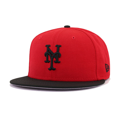 New York Mets Scarlet Black New Era 59Fifty Fitted