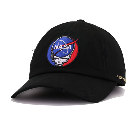 Grateful NASA Skull Black Field Grade Distressed Dad Hat