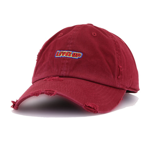Distressed Level Up Maroon KBEthos Vintage Dad Hat