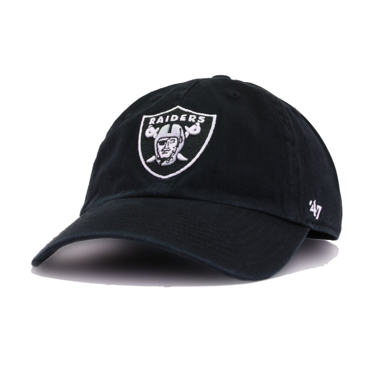 Oakland Raiders Black 47 Brand Clean Up Dad Hat