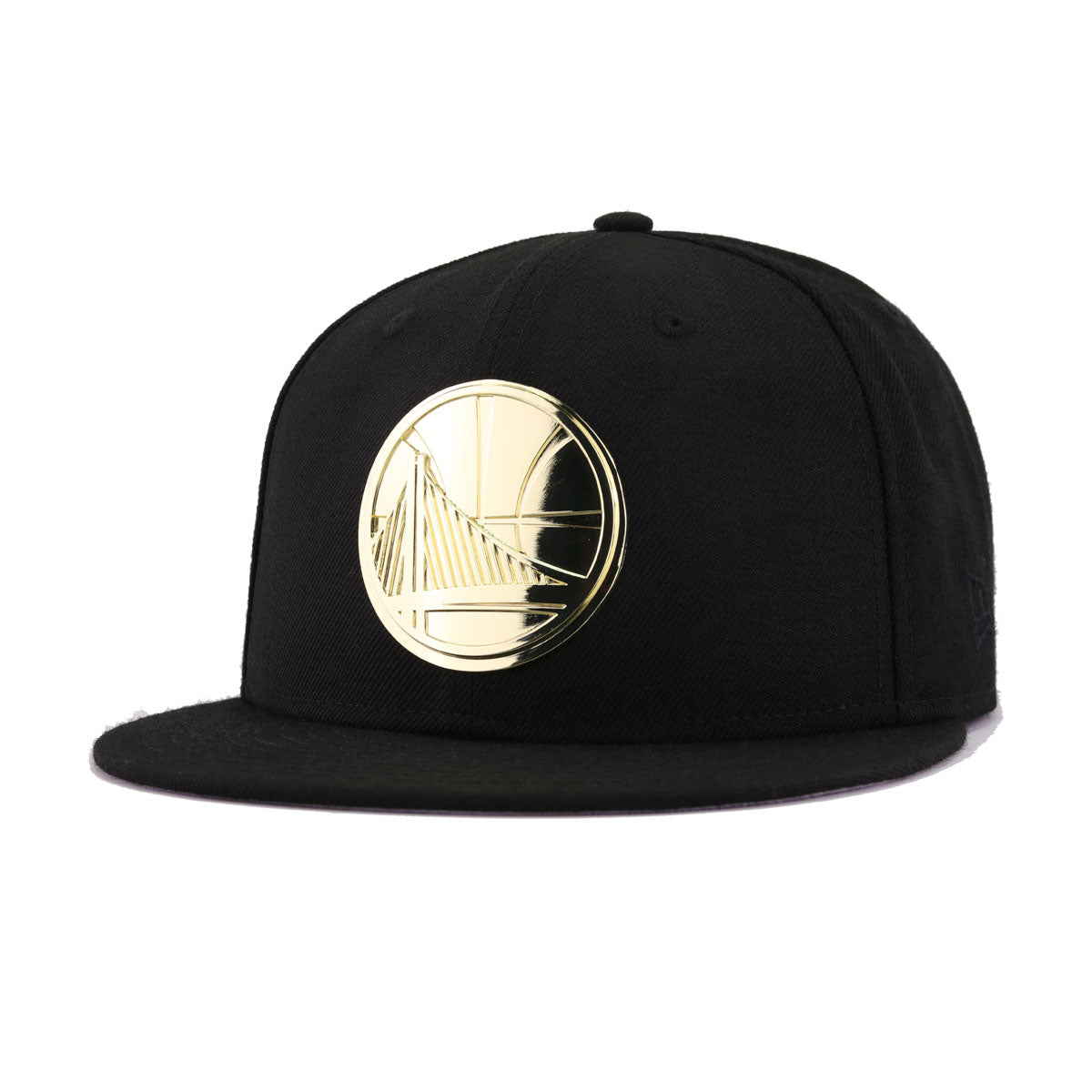 586b207a676 Golden State Warriors Black Gold Metal Badge New Era 9Fifty Snapback