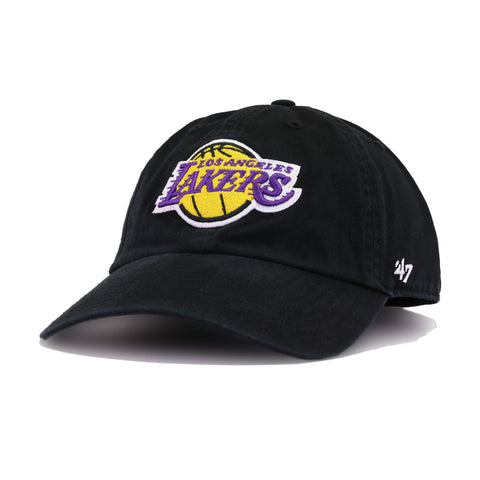 Los Angeles Lakers Black 47 Brand Clean Up Dad Hat
