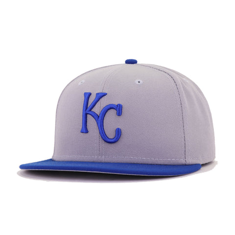 Kansas City Royals Grey Light Royal Blue Cooperstown AC New Era 59Fifty Fitted