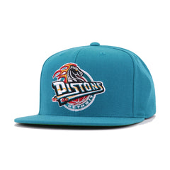 Detroit Pistons Teal Hardwood Classic Mitchell and Ness Snapback