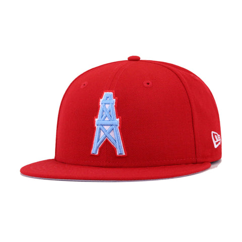 Houston Oilers Front Door Red New Era 59Fifty Fitted