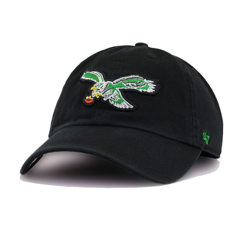 Philadelphia Eagles Legacy Black 47 Brand Clean Up Dad Hat