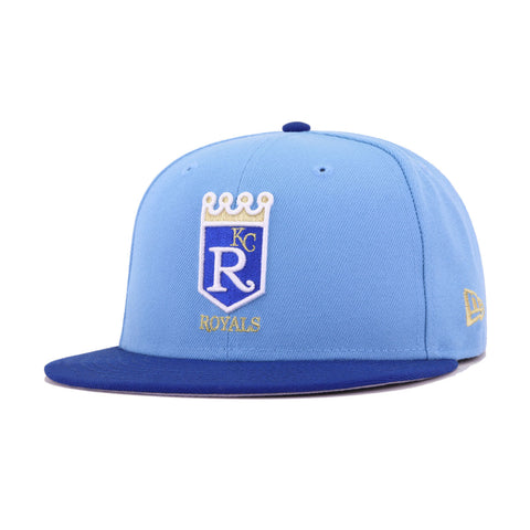 Kansas City Royals Sky Blue Light Royal Blue Cooperstown New Era 59Fifty Fitted