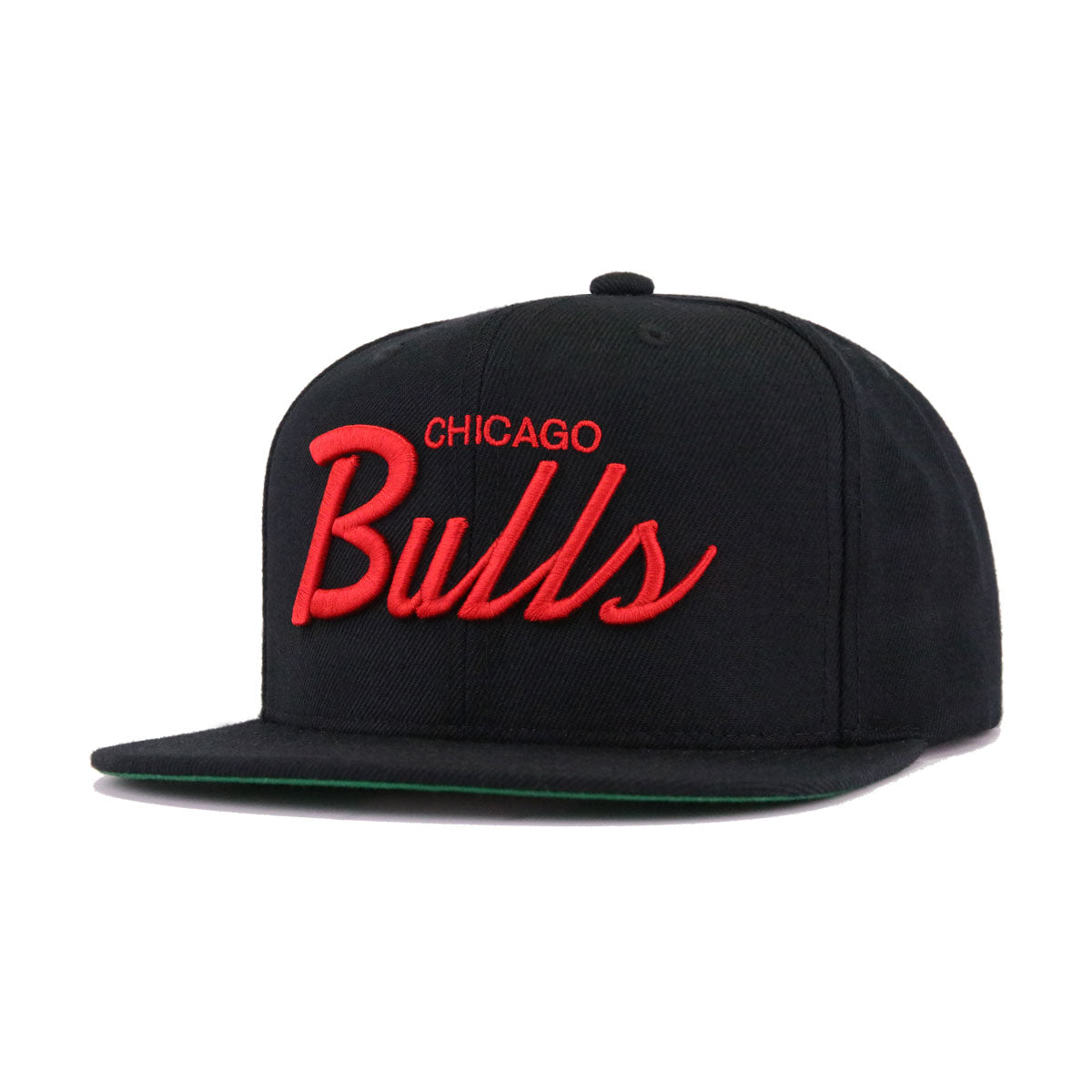 Chicago Bulls Black Scarlet Wordmark Mitchell and Ness Snapback