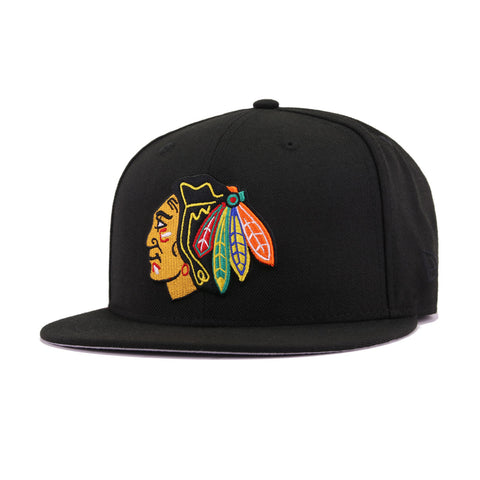 the latest 39b0a 1fe69 Chicago Blackhawks Black Official Team Colors New Era 59Fifty Fitted