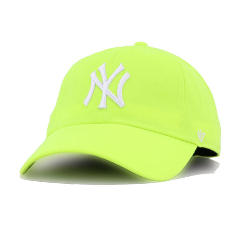 New York Yankees Neon Yellow 47 Brand Clean Up Dad Hat