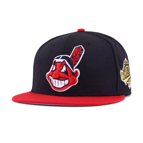 Cleveland Indians Navy Scarlet 1995 World Series Cooperstown New Era 59Fifty Fitted