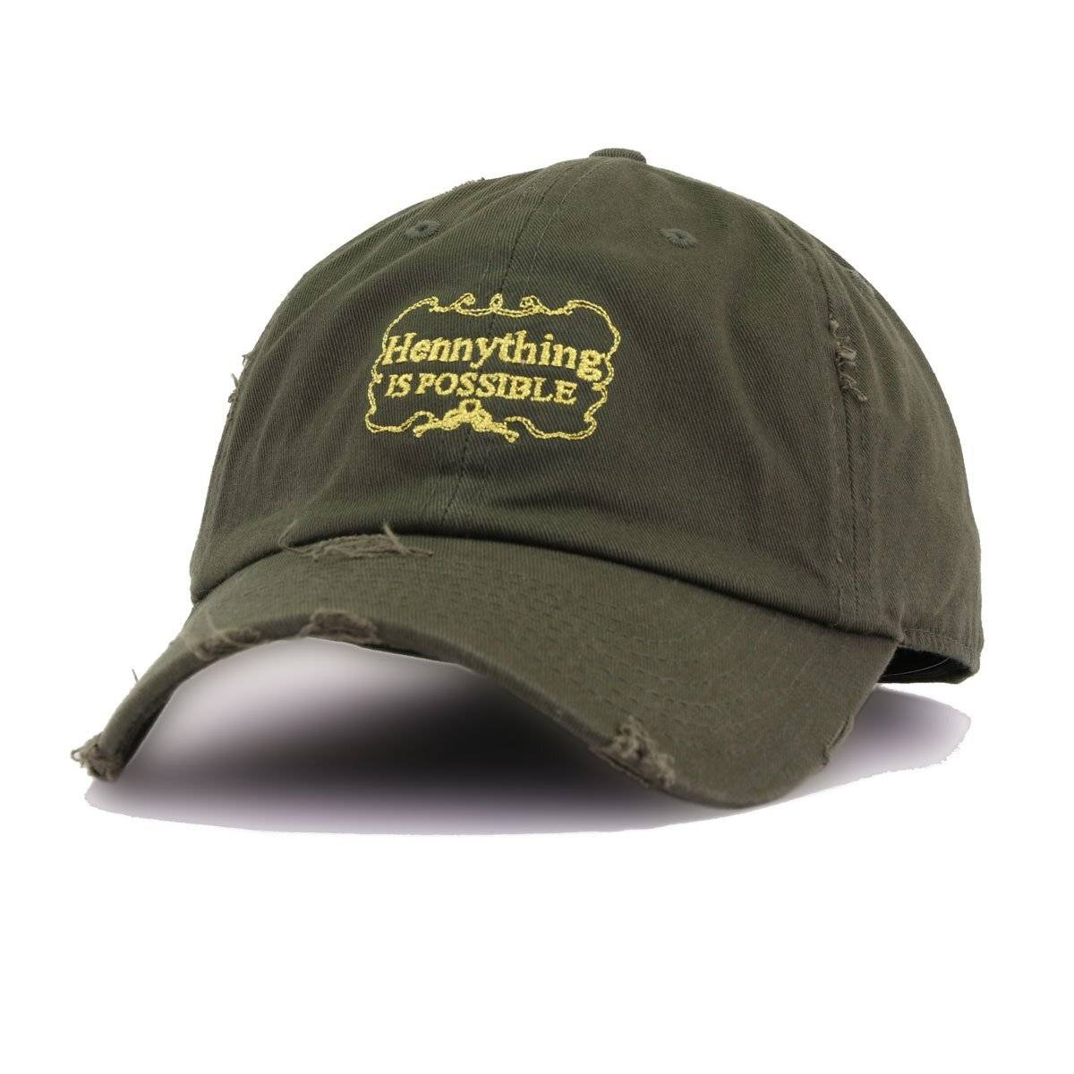 Distressed Hennything is Possible Olive KBEthos Vintage Dad Hat