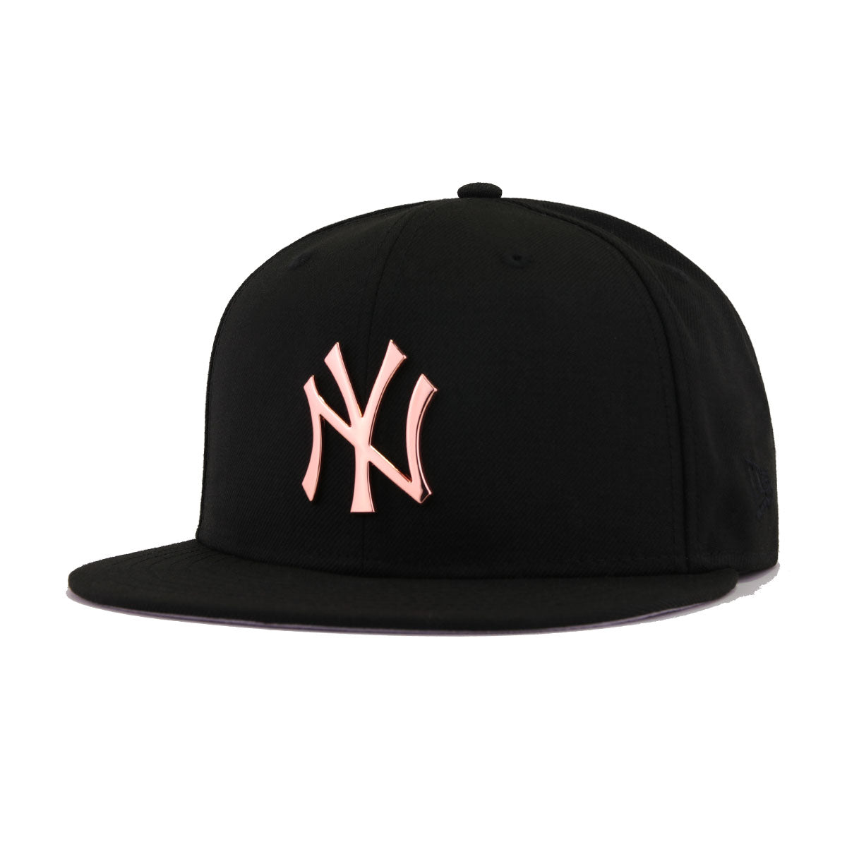 New York Yankees Black Rose Gold Metal Badge New Era 59Fifty Fitted