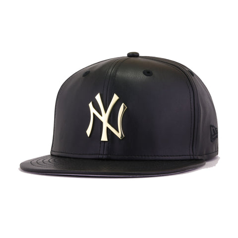 New York Yankees Black Leather Gold Metal Badge New Era 59Fifty Fitted
