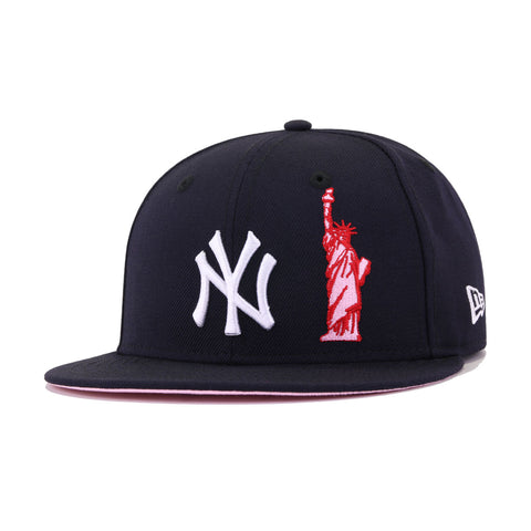 New York Yankees Navy Statue of Liberty Pink Bottom v2 New Era 59Fifty Fitted
