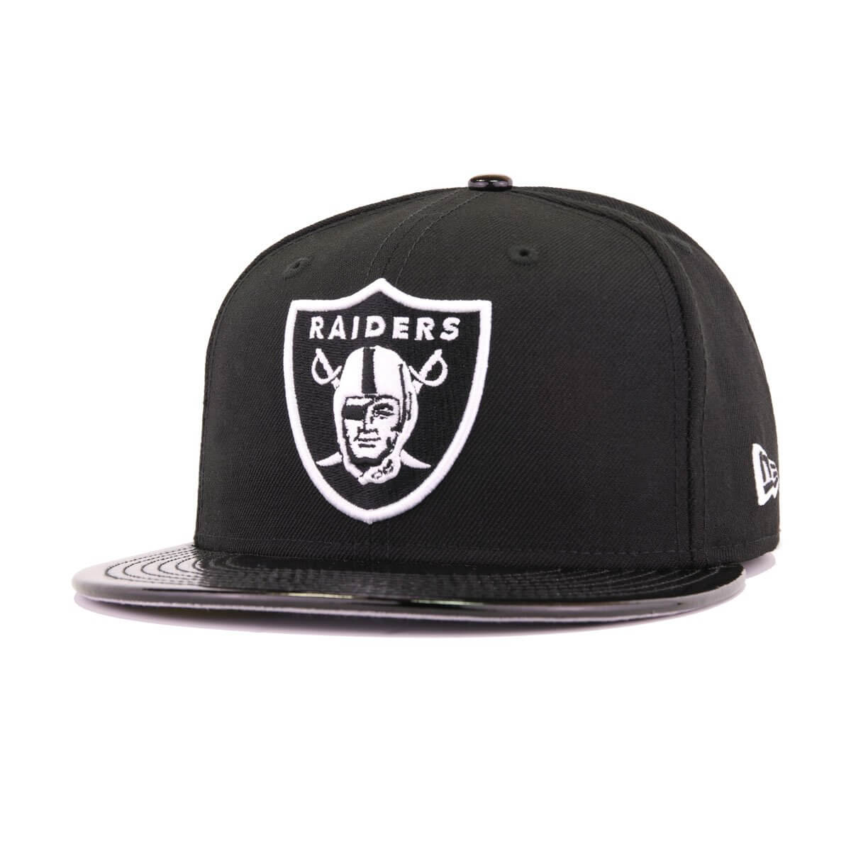 Oakland Raiders Black Patent Leather New Era 59Fifty Fitted