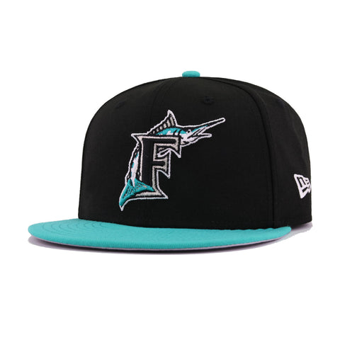 the latest f4152 a9b1d Florida Marlins Black Teal World Series 100th Anniversary Cooperstown New  Era 9Fifty Snapback