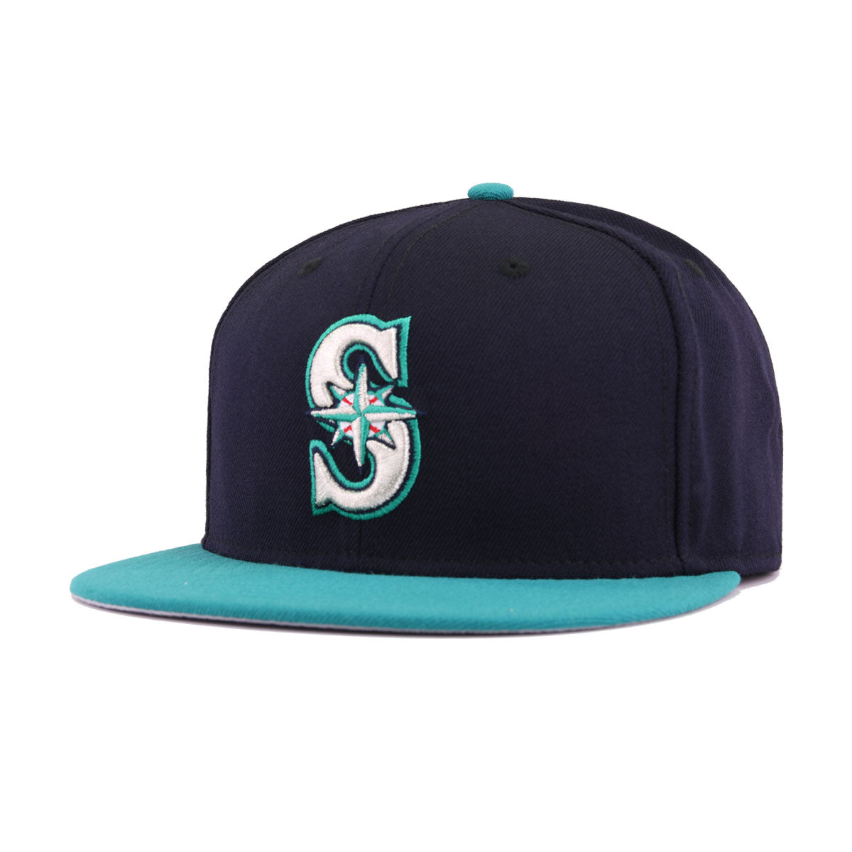 Metallic Gold Logos New Era 59Fifty Fitted Hat Seattle Mariners Red Navy Lid