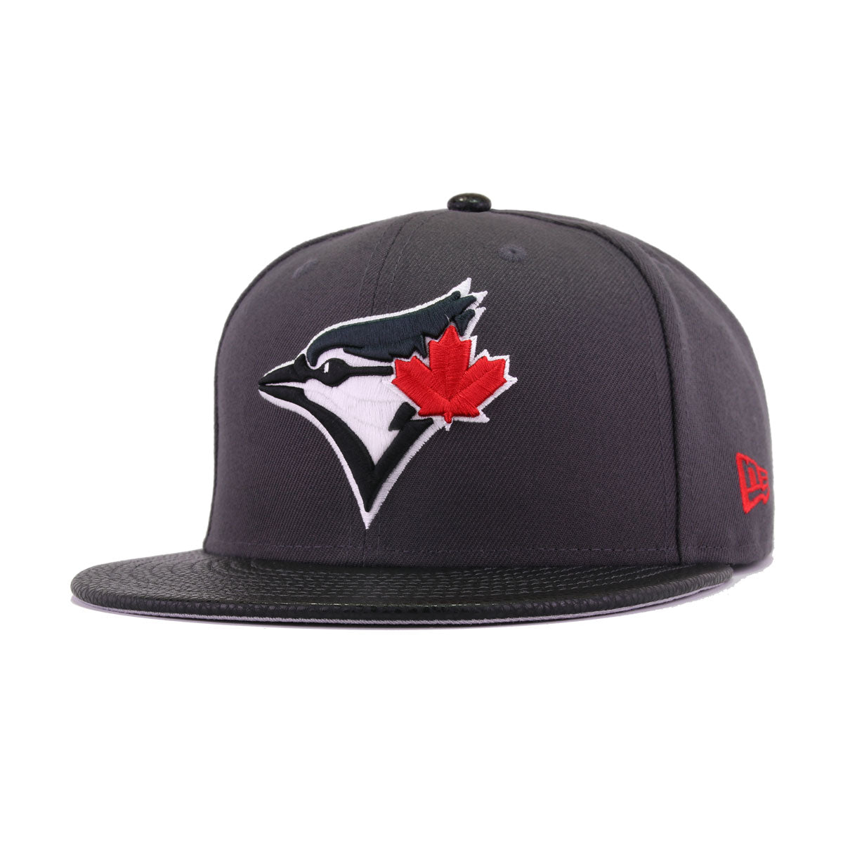 Toronto Blue Jays Graphite Black Pebbled Leather Scarlet New Era 59Fifty Fitted