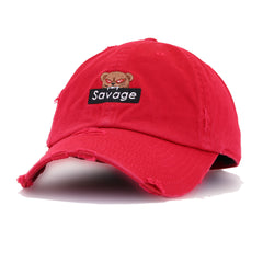 Distressed Savage Bear Red KBEthos Vintage Dad Hat