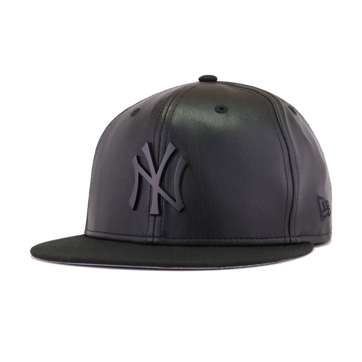 New York Yankees Black Faux Leather Black Metal Badge New Era 59Fifty Fitted