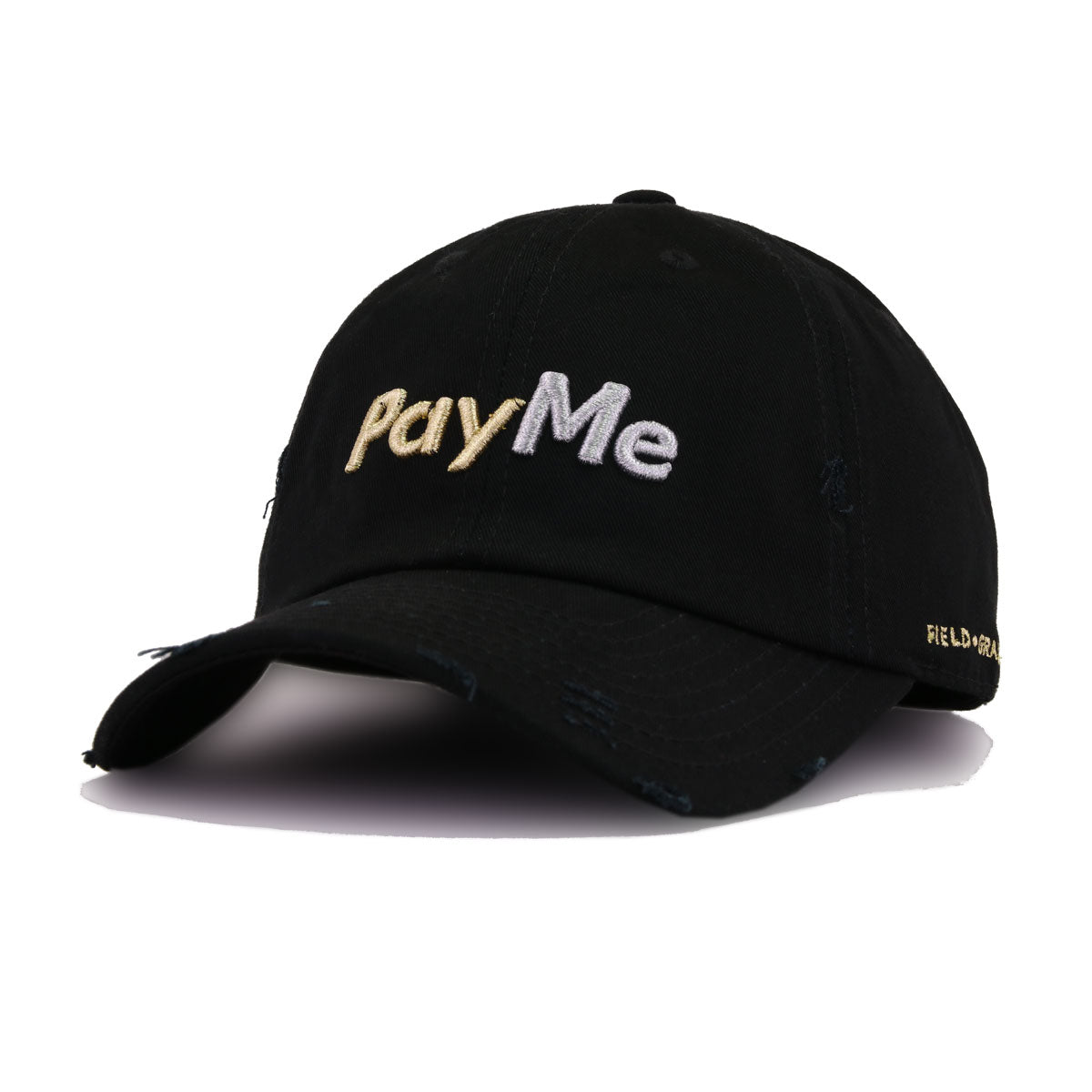 PayMe Black Field Grade Distressed Dad Hat