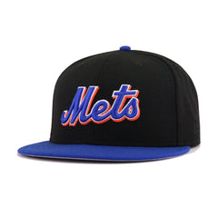 New York Mets Black Light Royal Blue Wordmark New Era 59Fifty Fitted