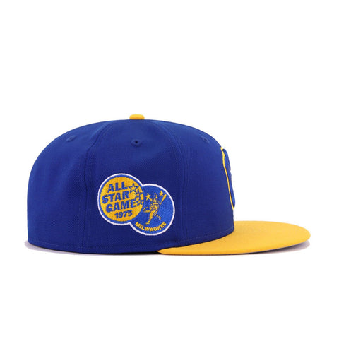 Milwaukee Brewers Light Royal Blue A's Gold Cooperstown 1975 All Star Game New Era 59Fifty Fitted