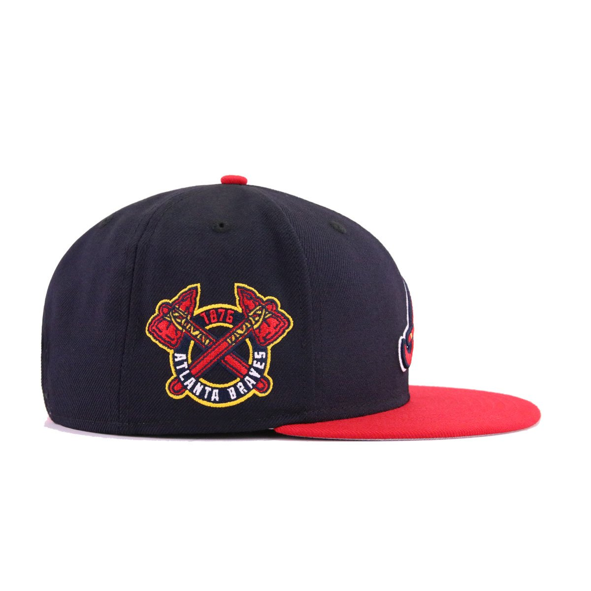 cb2900e3ad4 Atlanta Braves Navy Scarlet Tomahawk 1876 New Era 9Fifty Snapback