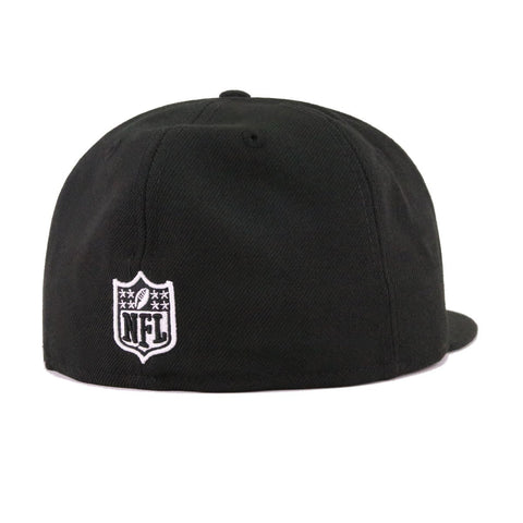Oakland Raiders Black Silver Metal Badge New Era 59Fifty Fitted