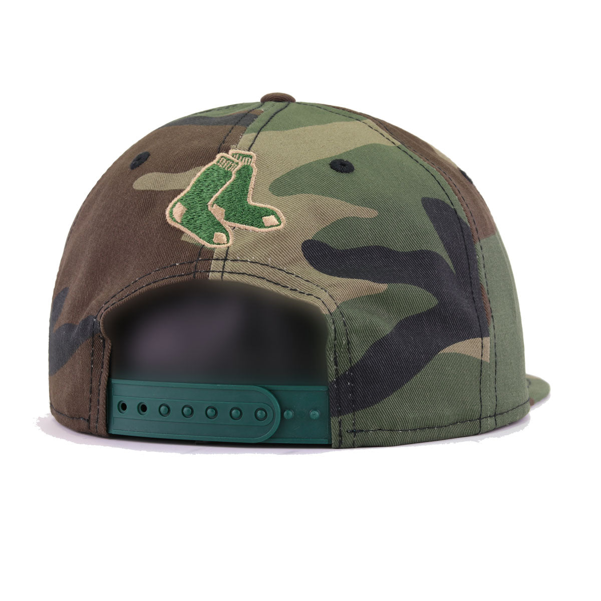 Boston Red Sox Woodland Camouflage Holly Green New Era 9Fifty Snapback
