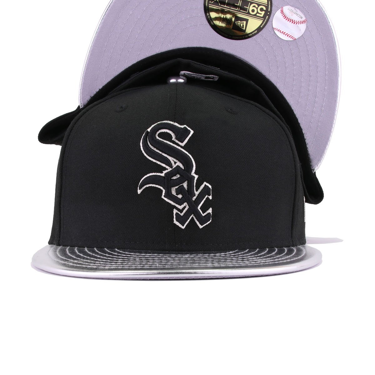 Chicago White Sox Black Metallic Silver Faux Leather New Era 59Fifty Fitted