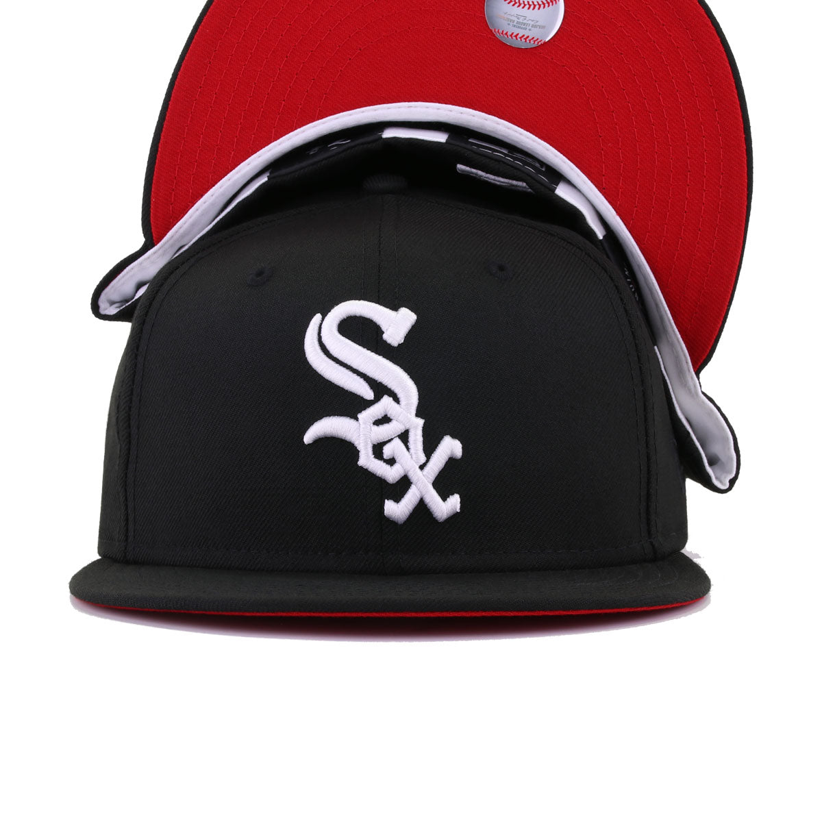 Chicago White Sox Black Red Bottom New Era 59Fifty Fitted