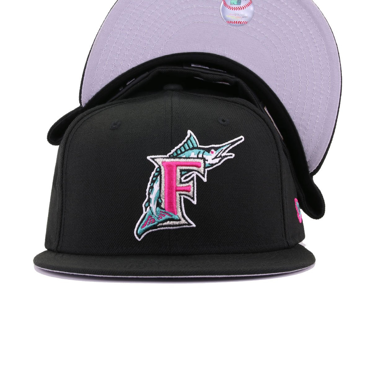 Florida Marlins Black Aqua Beet Root Purple New Era 59Fifty Fitted